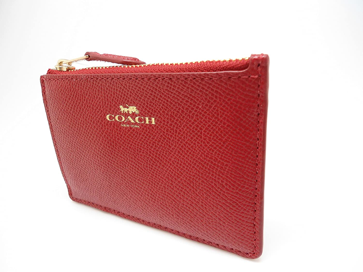 2a11227344 Amazon.com  Coach Signature Leather Mini Skinny ID Wallet Key Pouch Logo ( Red)  Clothing