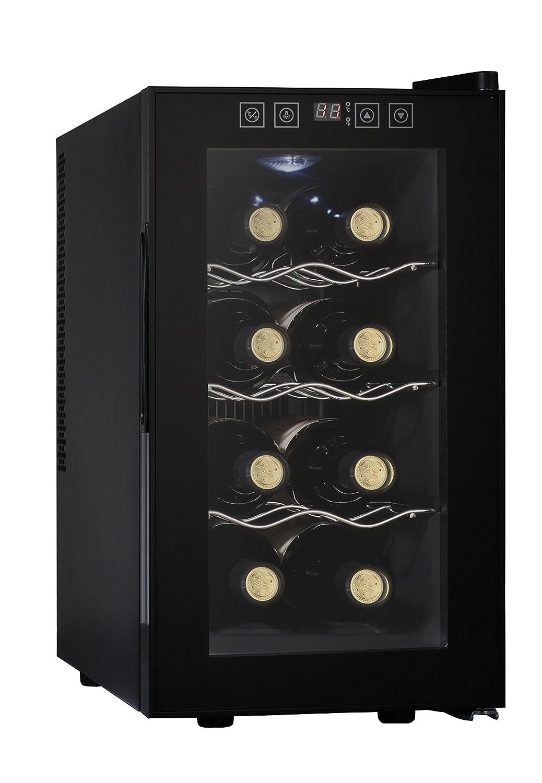 Acopino BC25A kompakter Weinkühlschrank für 8 Flaschen, schwarz, verglaste Tür, 23 Liter verglaste Tür