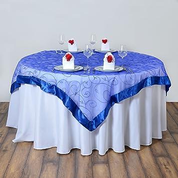 Amazon Balsacircle 60x60 Inch Royal Blue Organza Table Overlays