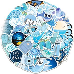 100 Pcs Blue VSCO Stickers for Hydroflask Stickers - Waterproof Vinyl Pastel Surf Ocean Butterfly Dolphin Stickers for Laptop Suitcase Water Bottles VSCO Girl(E-130)