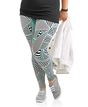 3f59ed922af8b No Boundaries Women Ankle Leggings Plus Size Skinny Legs Inseam 29 (1X,  Aztec Print
