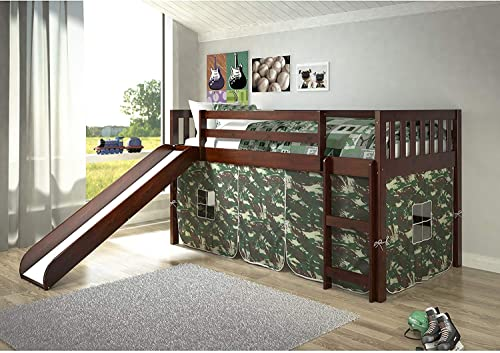 Donco Kids Mission Low Slide Loft Bed Dark Cappuccino/Twin/CAMO Tent