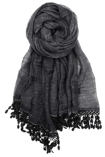 a0c6346fbd3 Achillea Women's Soft Feminine Linen Sheer Shawl Wrap Scarf w/Teardrop  Fringes