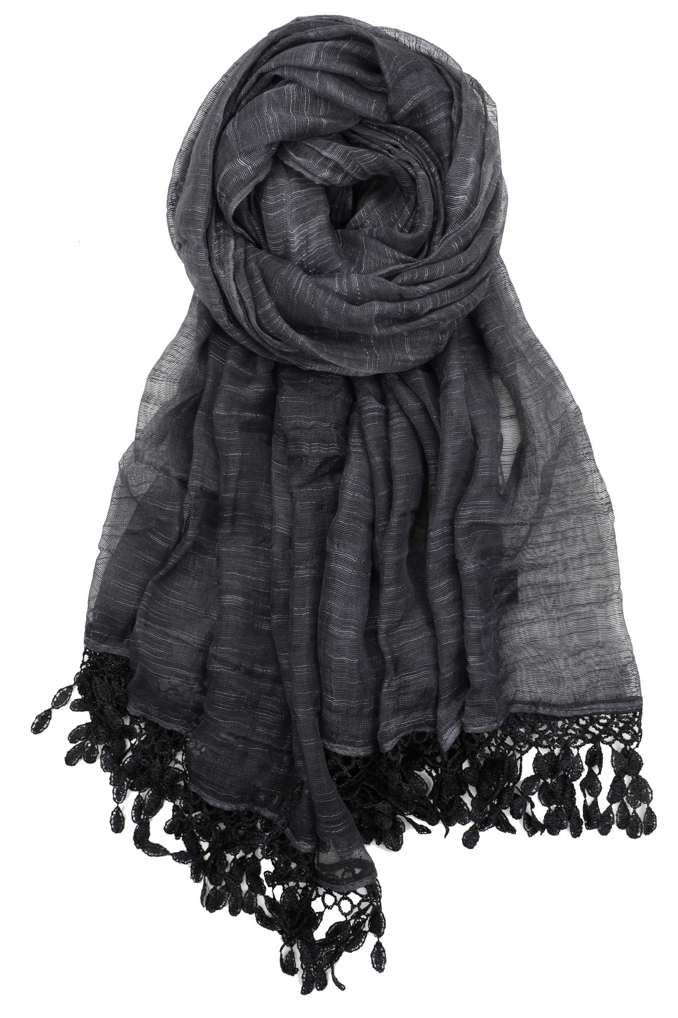 Achillea Women's Soft Feminine Linen Sheer Shawl Wrap Scarf w/Teardrop Fringes (Charcoal Black)
