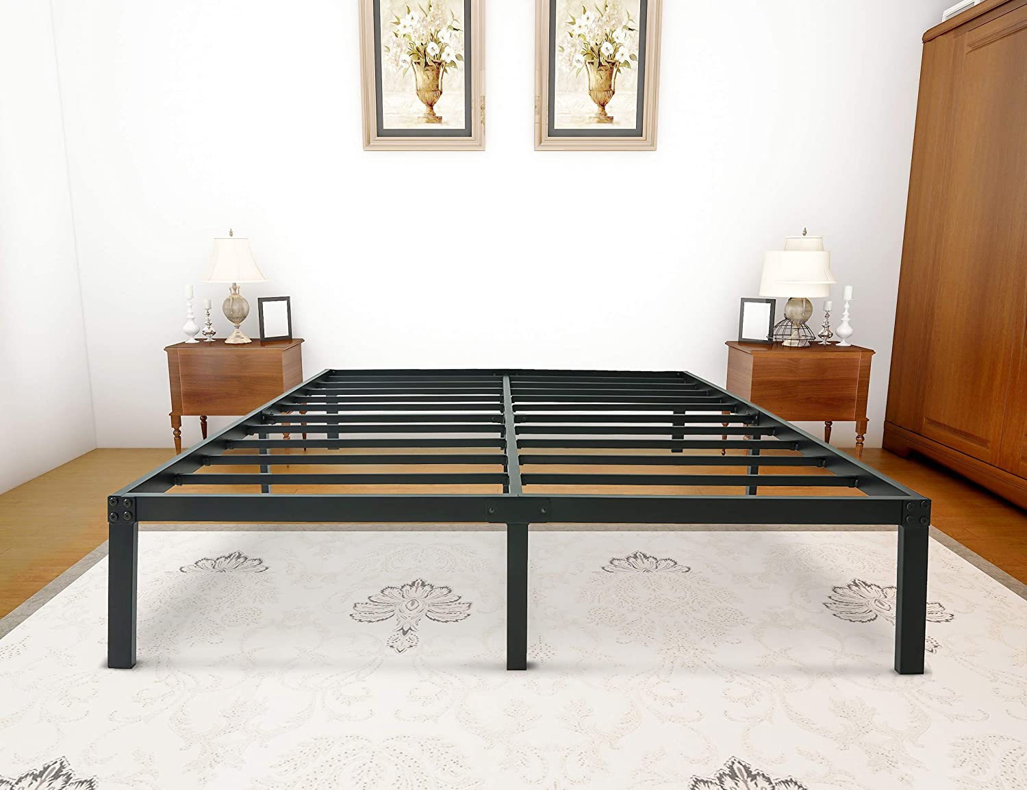 zizin Queen Size Bed Frame Platform Base 14 Inch Heavy Duty Metal Beds Frames Easy Assembly Noise-Free No Box Spring Needed Queen