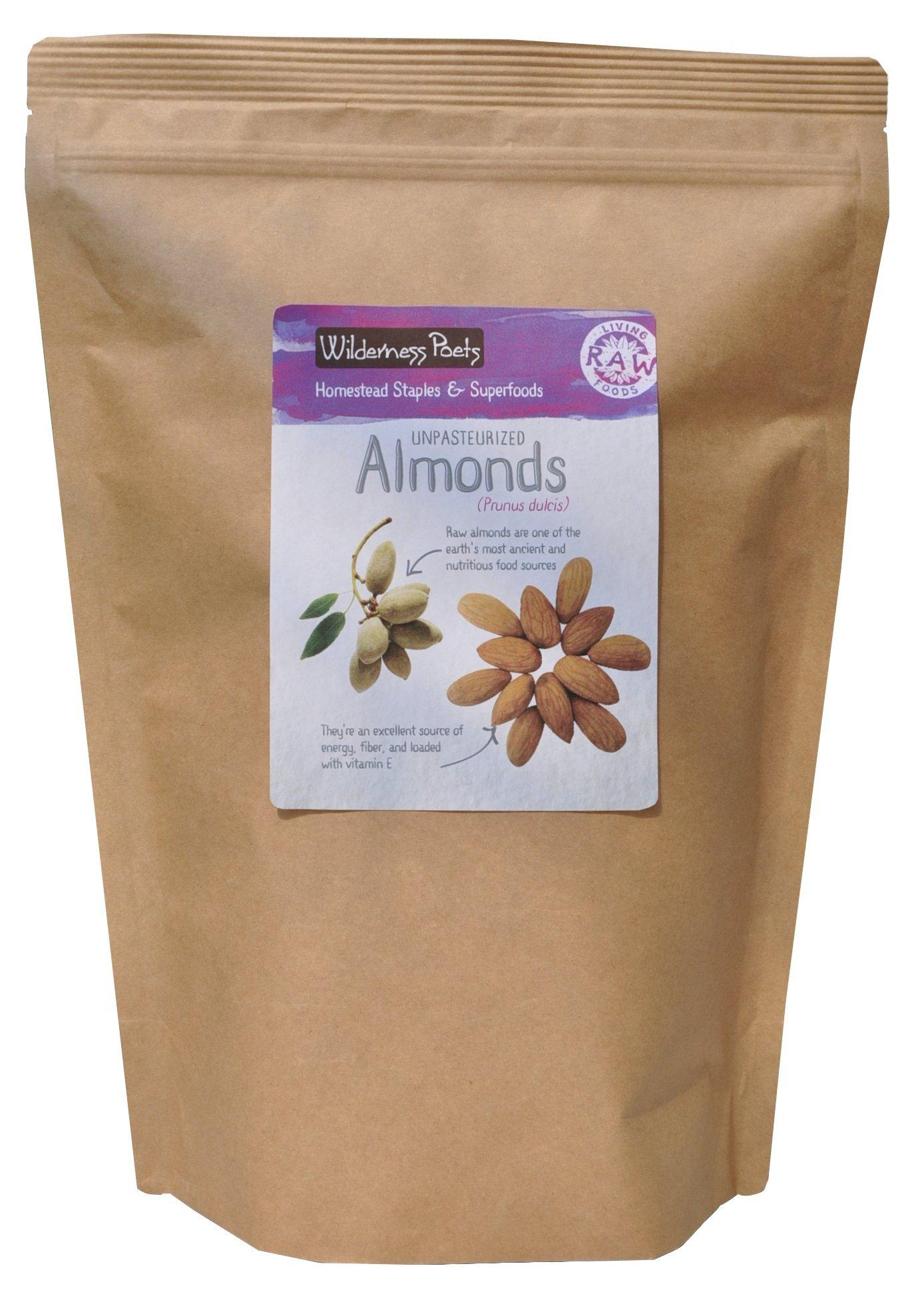 Wilderness Poets, Unpasteurized Almonds - Raw Organic Bulk Nuts - 10 Pound (160 Ounce)