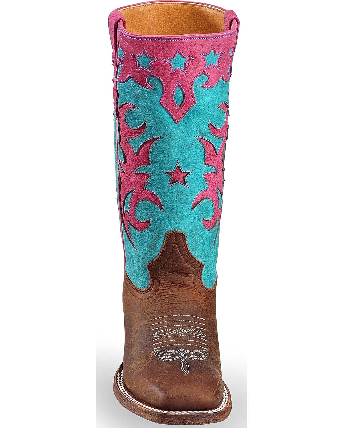 7bf81c2a6db Amazon.com | Macie Bean Girls' Turquoise Sinsation Cowgirl Boot ...