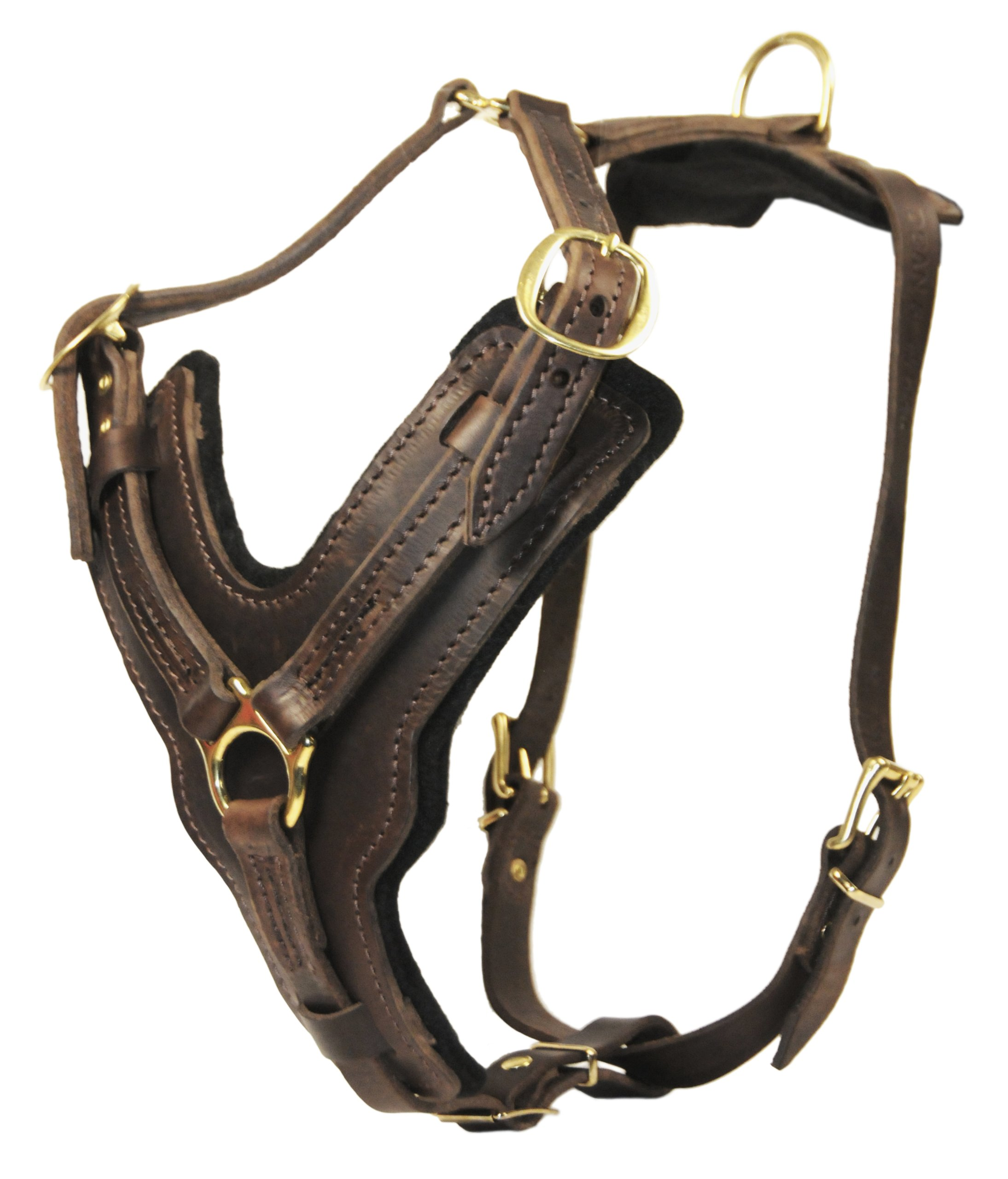 Dean and Tyler The Victory Solid Brass Belt Style Buckles Leather Dog Harness, Brown, Large - Fits Girth Size: 31-Inch to 41-Inch