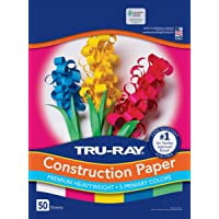 """Tru-Ray - 1439763 Pacon Assorted Primary Colors Primary Construction Paper, 9"""" W x 12"""" L (Pack of 50)"""
