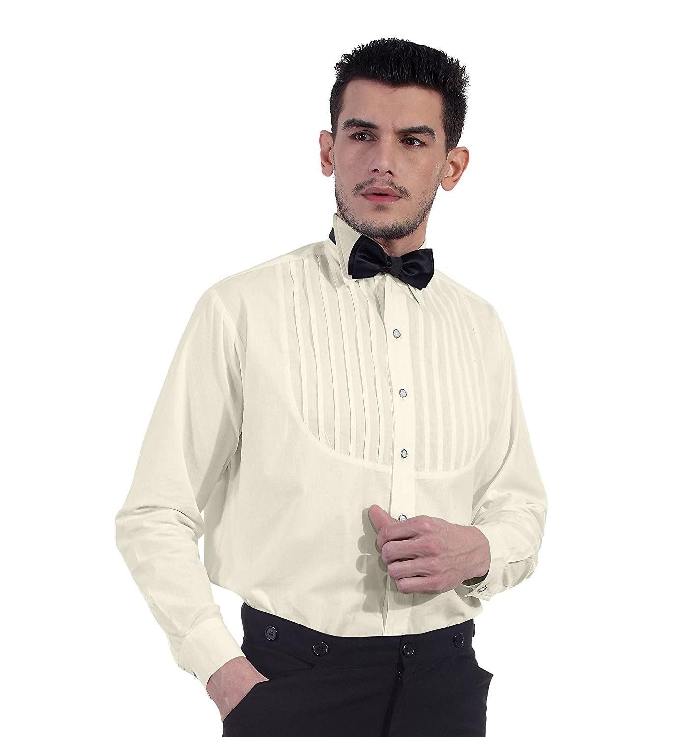 Victorian Men's Shirts- Wingtip, Gambler, Bib, Collarless ThePirateDressing Steampunk Victorian Cosplay Costume 100% Cotton Classic Mens Shirt C1289 $36.95 AT vintagedancer.com