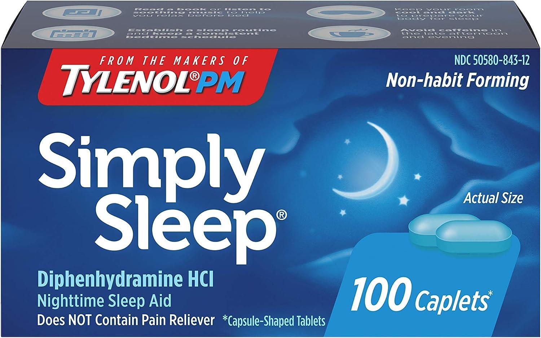 Simply Sleep Nighttime Sleep Aid Caplets with 25 mg Diphenhydramine HCl, Non-Habit Forming, 100 ct