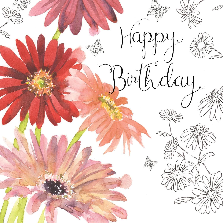 Twizler Carte d/'anniversaire pour fille avec feuillages argent/és effets aquarelle et fleuri uniques
