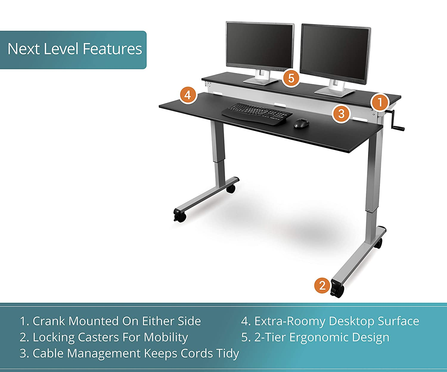 Fantastic Stand Up Desk Store Crank Adjustable Sit To Stand Up Computer Desk Heavy Duty Steel Frame 60 Inches Silver Frame Black Top Download Free Architecture Designs Crovemadebymaigaardcom