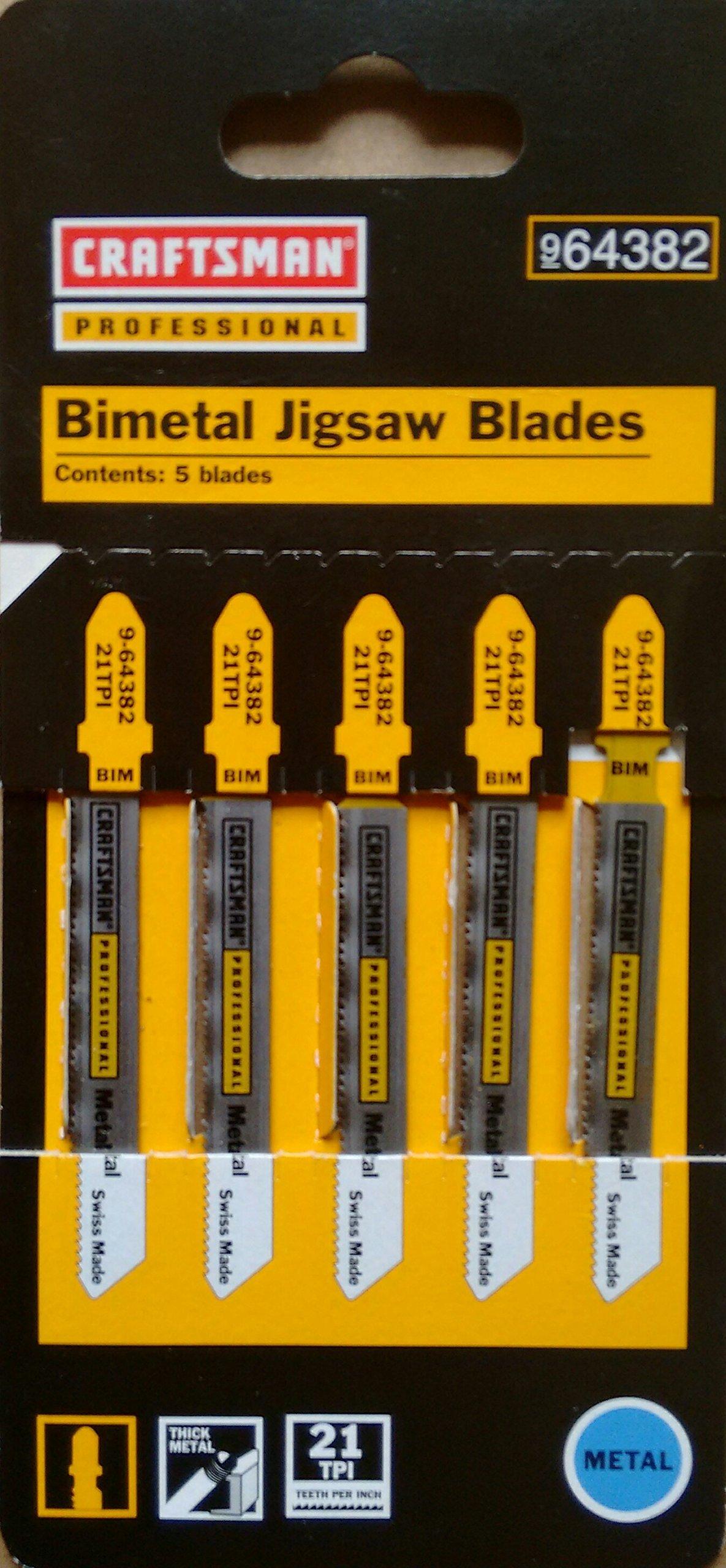 Craftsman Professional Bimetal Jigsaw Blades 5 pack, Made in Switzerland, 9-64382