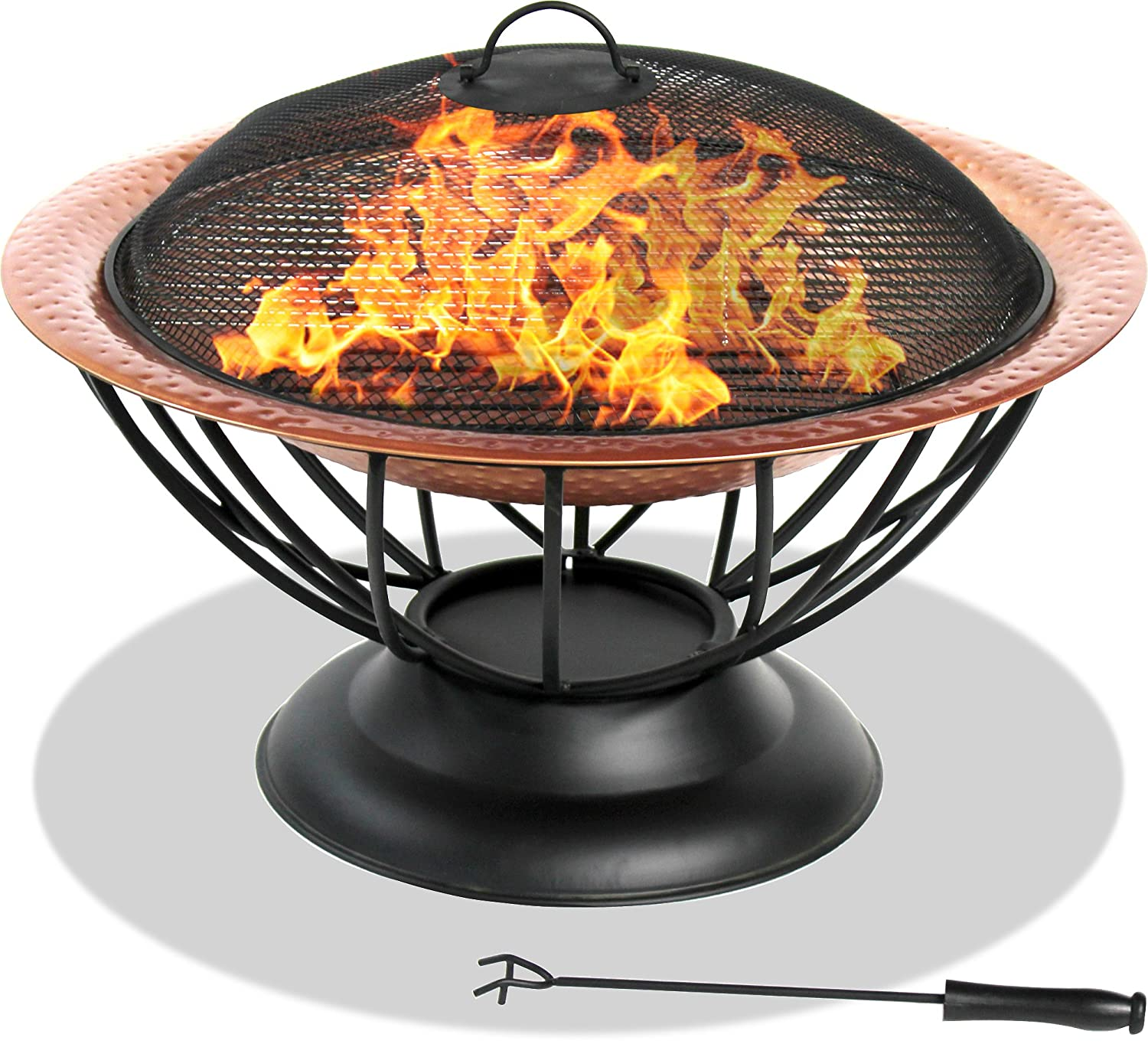 Centurion Supports Fireology VALENTINA Hammered Copper Fire Pit, Garden & Patio Heater, Coffee Table, Barbecue and Ice Bucket