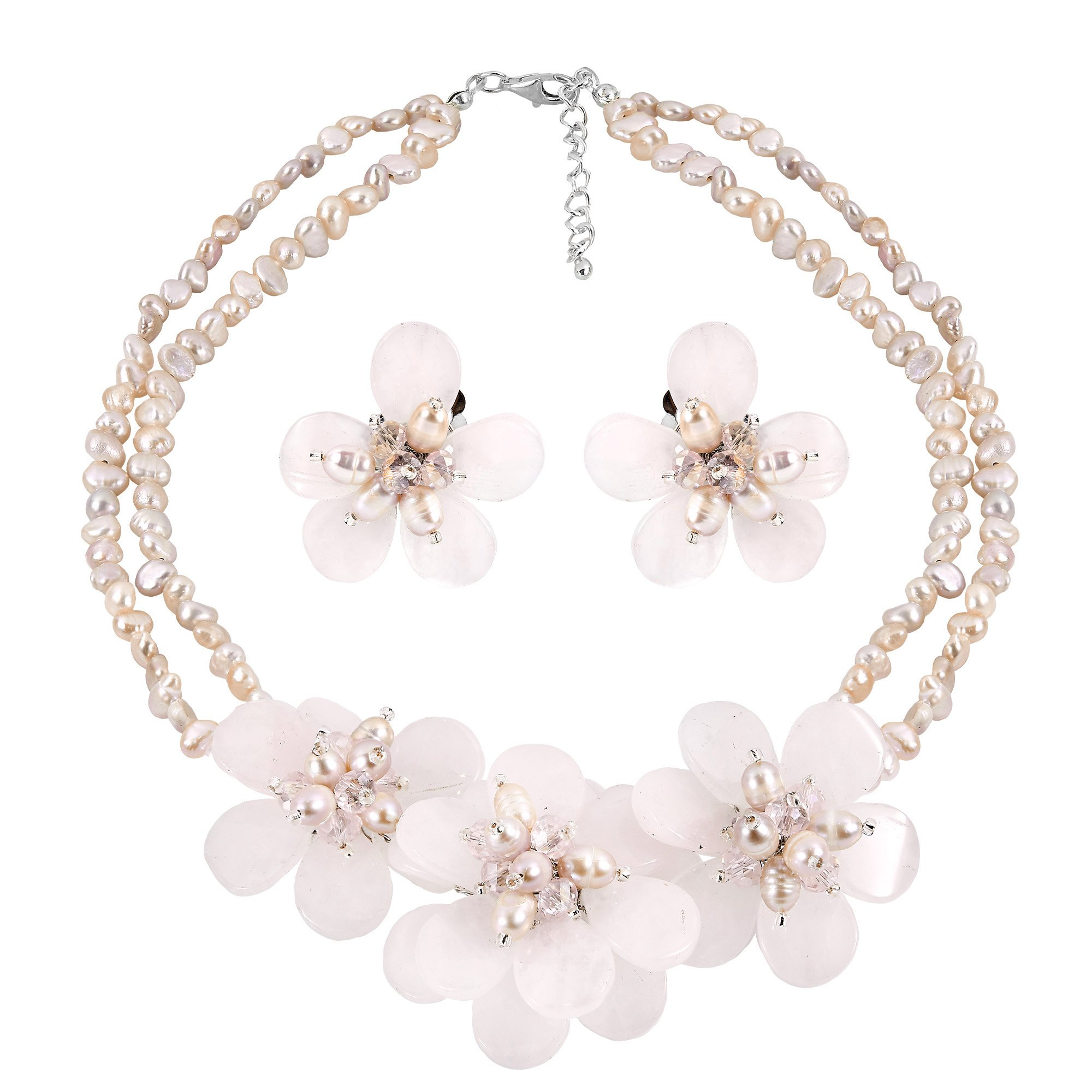 AeraVida Elegant Pink Glass and Cultured Freshwater Pearl Flower Jewelry Set
