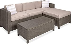 Best Choice Products 5-Piece Outdoor Wicker Conversation Set Sectional Modular All-Weather Patio Furniture w/Storage Table, 2 Pillows, Furniture Cover & Attachable Hooks