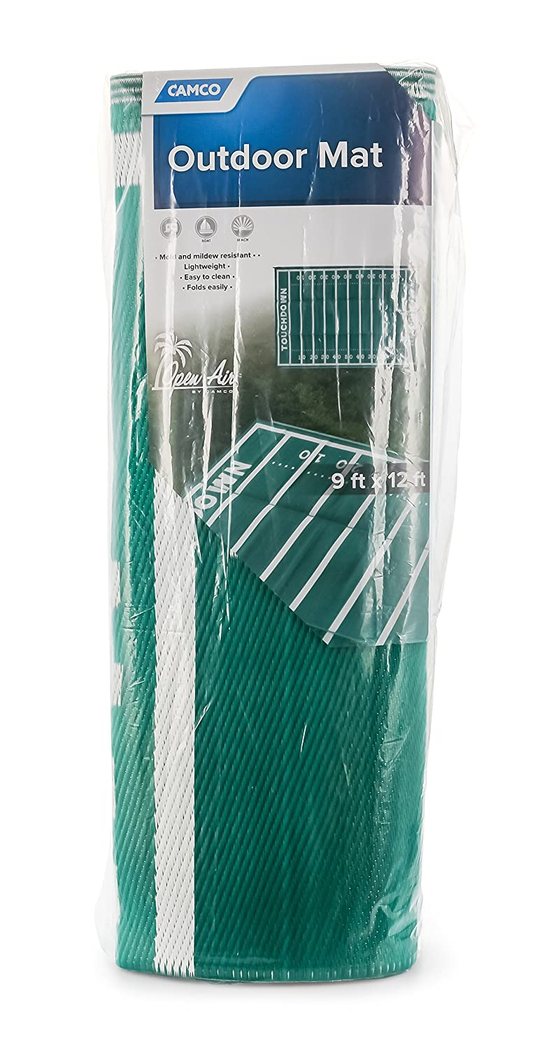and Tailgating- Reversible and Mildew Resistant 42861 Camco American Football Field Design Large Outdoor//Patio Rug Perfect for Camping Hiking Rving