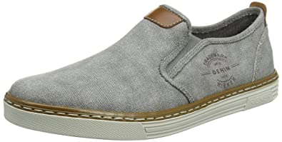 Rieker Herren B4961 Slip on Sneaker, Grau (Grey/Amaretto), 44 EU
