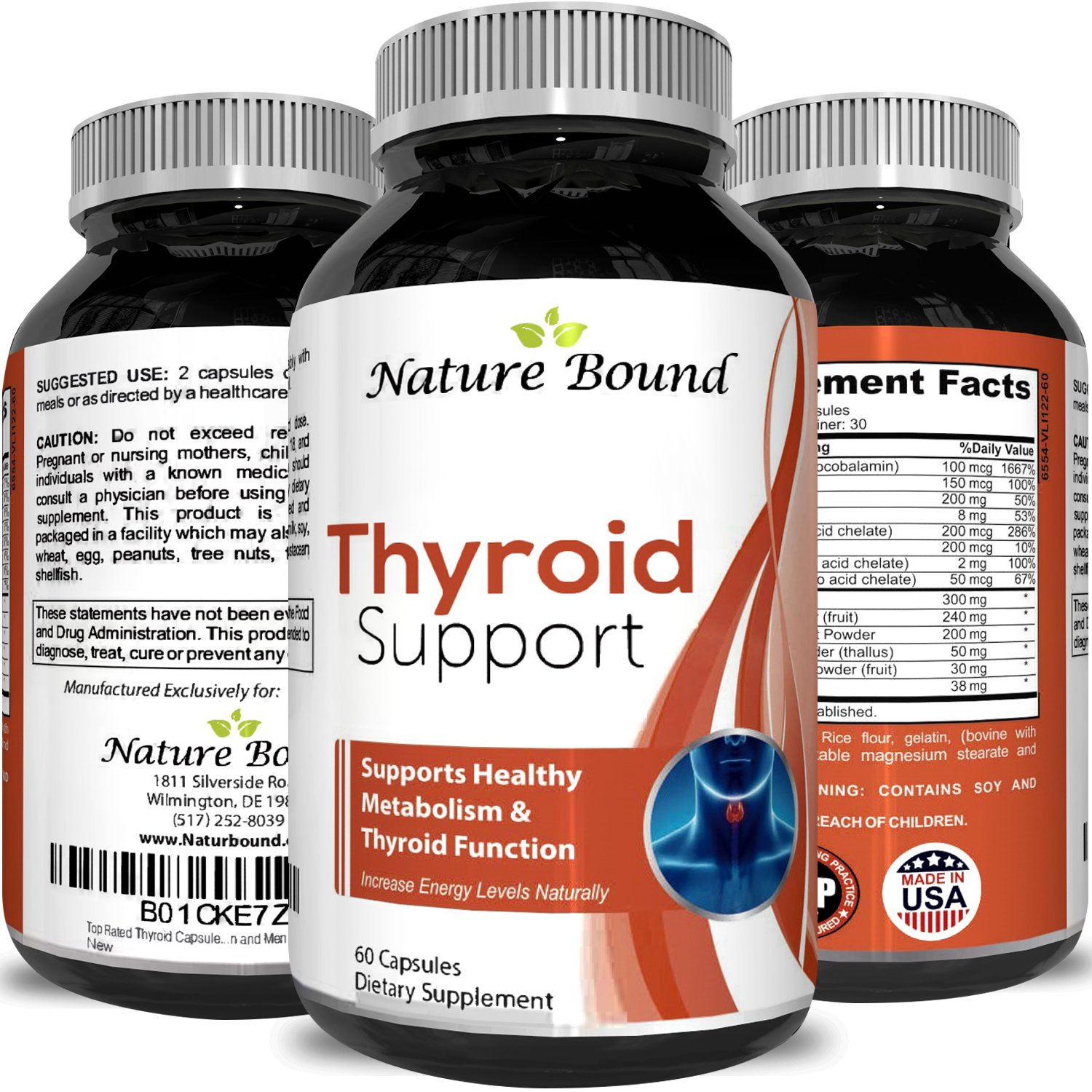 Nature Bound's Thyroid Support Natural Complex Supplement Capsules with Vitamin B-12 Zinc and Iodine Increase Metabolism Boost Immune System Thyroid Energy Booster Weight Loss Men and Women         by Nature Bound