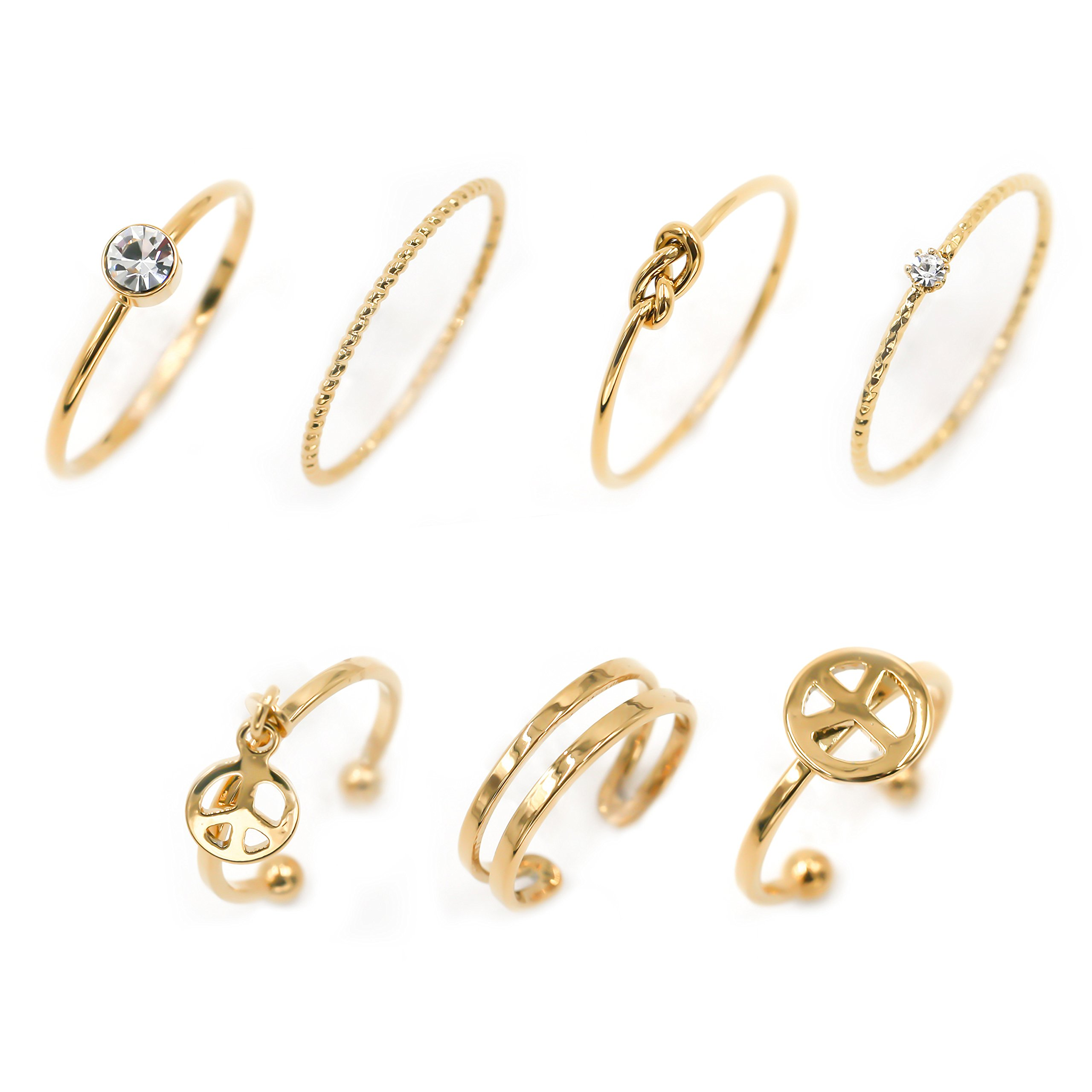 Fashion Jewelry Rings Set of 7 pcs Stackable Peace Symbol Midi Kunckle Anti-tarnished Real Gold Plated Filigree Cute Dainty Rings Pack for Woman Ladies Girls (Gold)