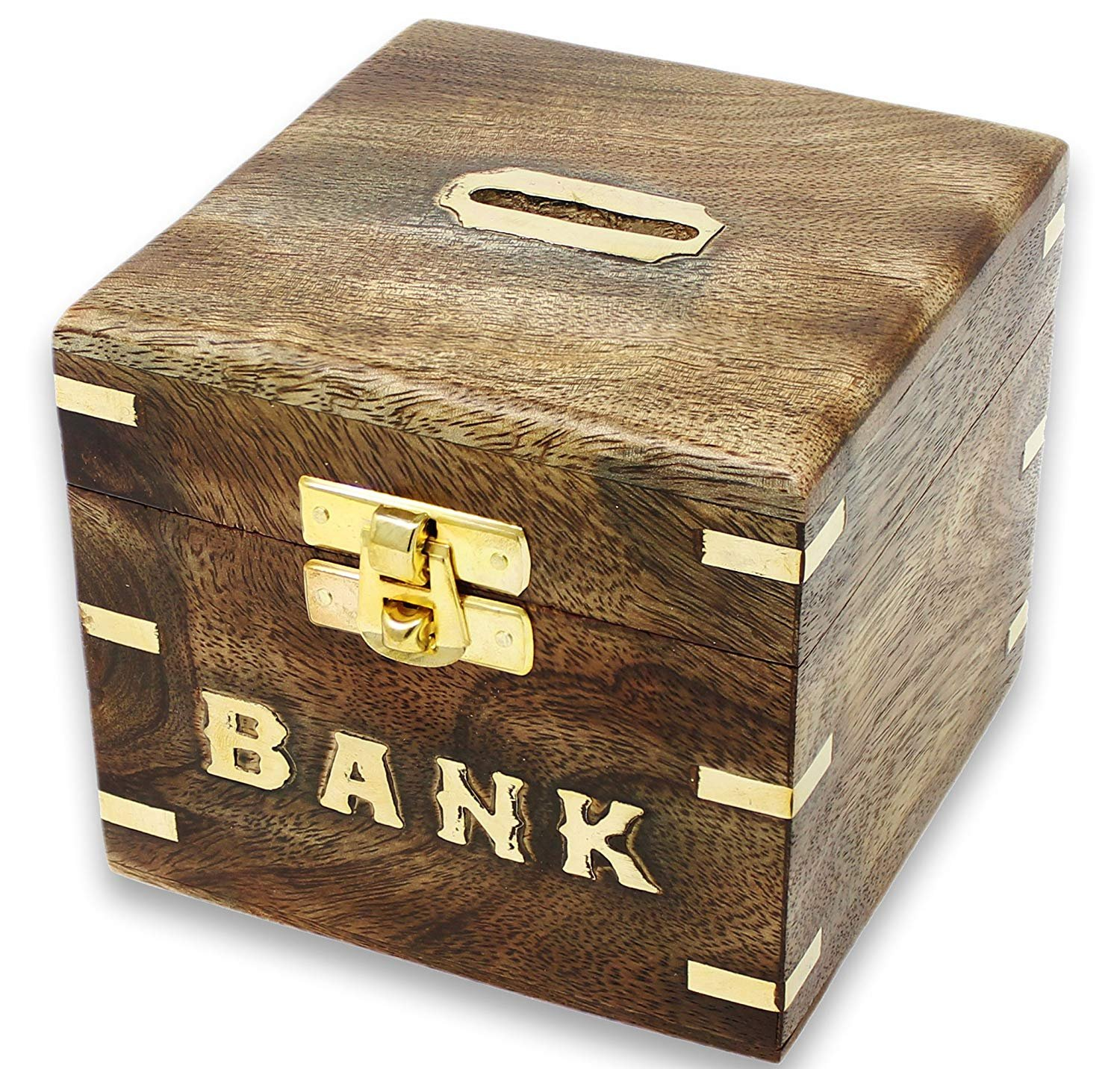 SKAVIJ Wooden Piggy Bank, Money Safe Fun Toy for Saving and Storing Coins Cash Box for Kids M-WMB6