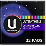 U By Kotex Ultrathin Overnight Long With Wings, 32 Count (8 x 4 Packs)