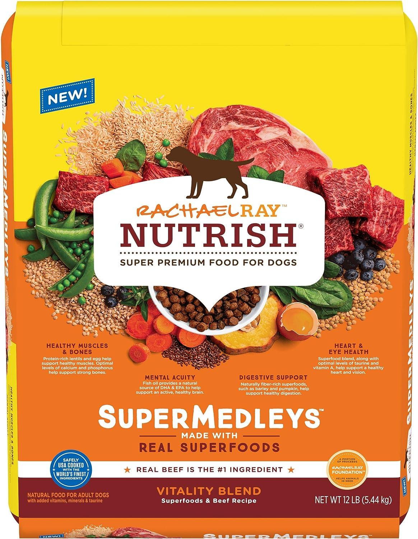 Rachael Ray Nutrish SuperMedleys Vitality Blend Premium Dry Dog Food, Beef, Salmon & Superfoods Recipe, 12 Pounds