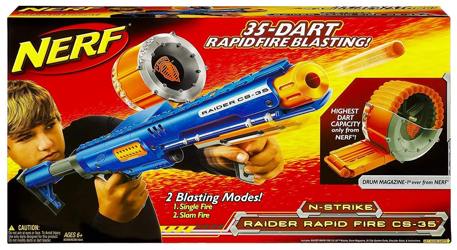 Amazon.com: Nerf N-Strike Raider Rapid Fire CS-35 Dart Blaster - Blue: Toys  & Games