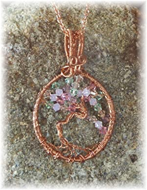 Copper Wire Wrapped Tree of Life Sun Catcher Pendant Necklace