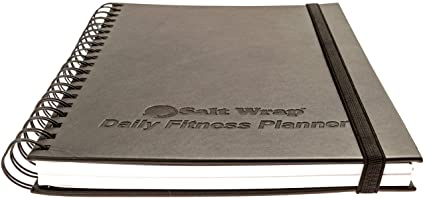 SaltWrap Daily Fitness Planner, Gym Workout Log and Food Journal - with Daily and Weekly Pages, Goal Tracking Templates, Spiral-Bound, 7 x 10 inches