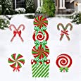 """Deloky 11 PCS Christmas Giant Candy Yard Signs-13.7""""x10.2""""x1.5 Inch Xmas Candy Cane Yard Stakes for Home Lawn Pathway Walkway Candyland Themed Party"""