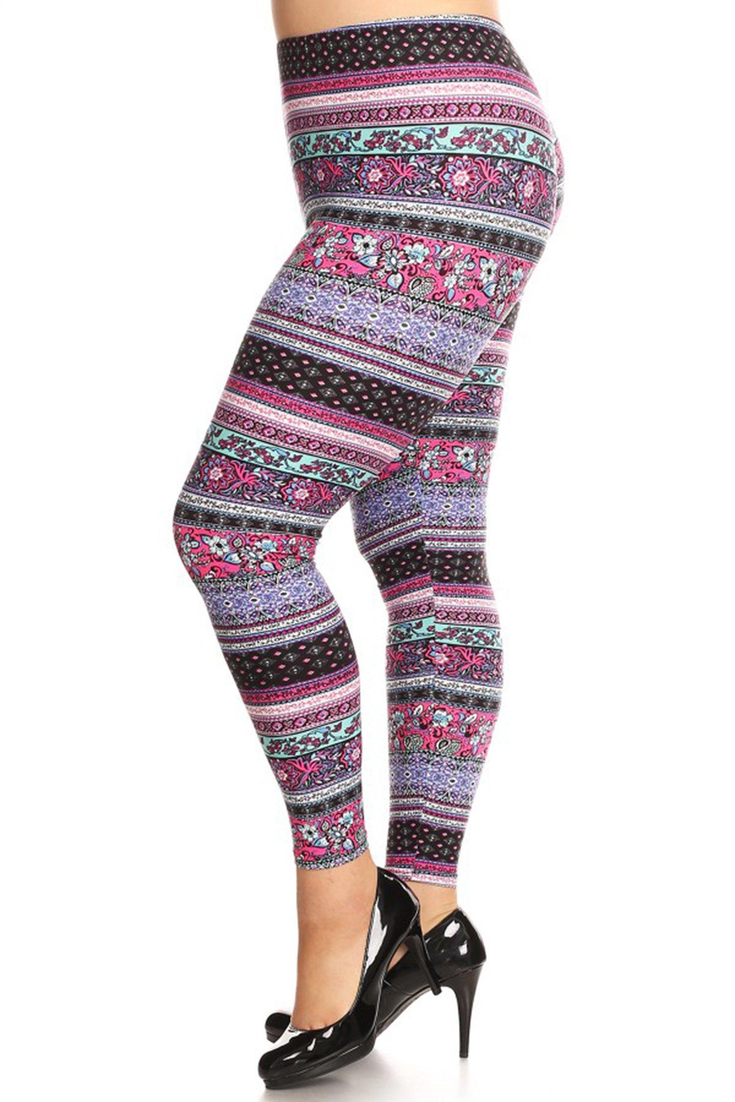 Leggings Mania Women's Plus Size Tapestry Border Print Leggings Lavender