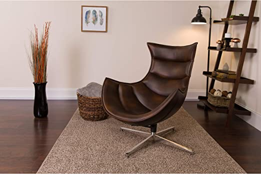 Amazon Com Flash Furniture Brown Leather Cocoon Chair Bomber Jacket Furniture Decor