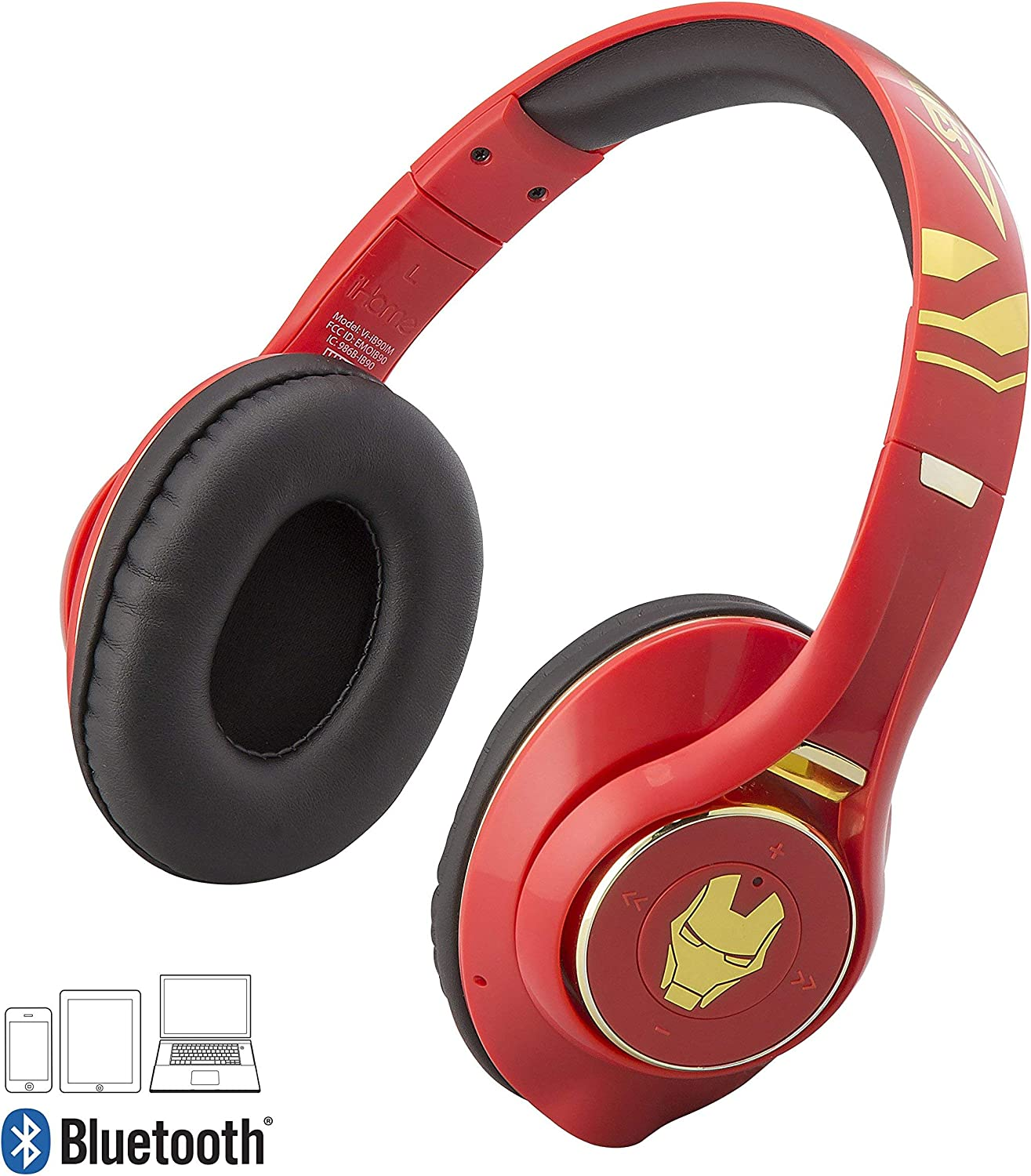 Iron Man Bluetooth Headphones with Microphone Voice Activation and Bonus Aux Cable Iron Man