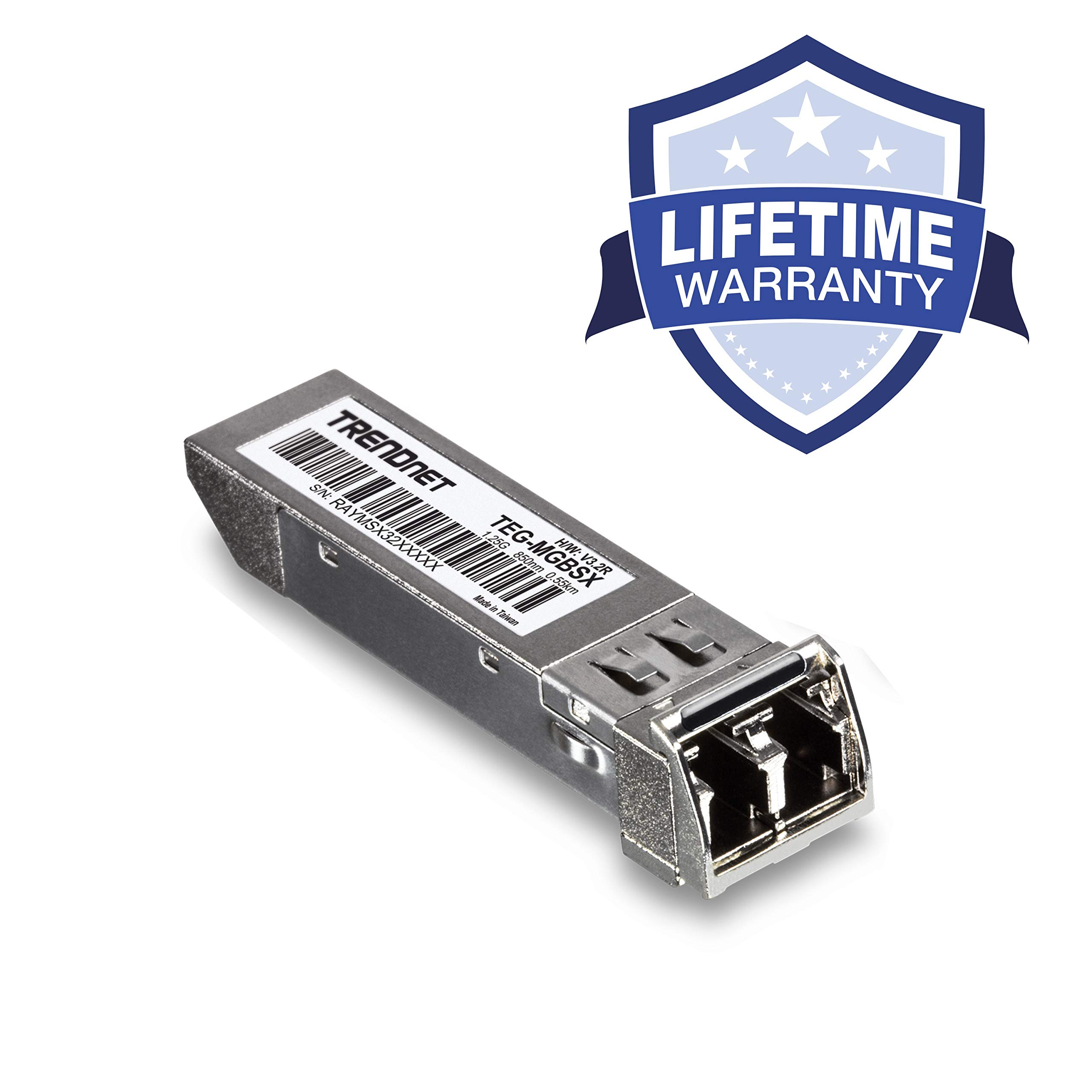 TRENDnet Gigabit SFP LC Module, TEG-MGBSX, Multi-Mode, Mini-GBIC, Up to 550 M (1800 ft), Compatible w/Standard SFP Slots, Hot Pluggable, Compliant w/IEEE 802.3z Gigabit Ethernet, Lifetime Protection by TRENDnet