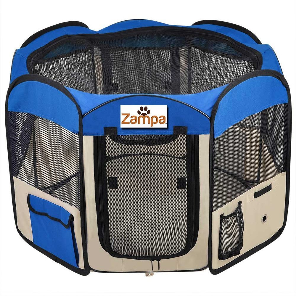 Pet 45'' Playpen Foldable Portable Dog/Cat/Puppy Exercise Kennel For Small medium Large. The Best Indoor And Outdoor Pen. With Cary Bag. Easily Sets Up & Folds Down & Space Free (Blue) by Zampa
