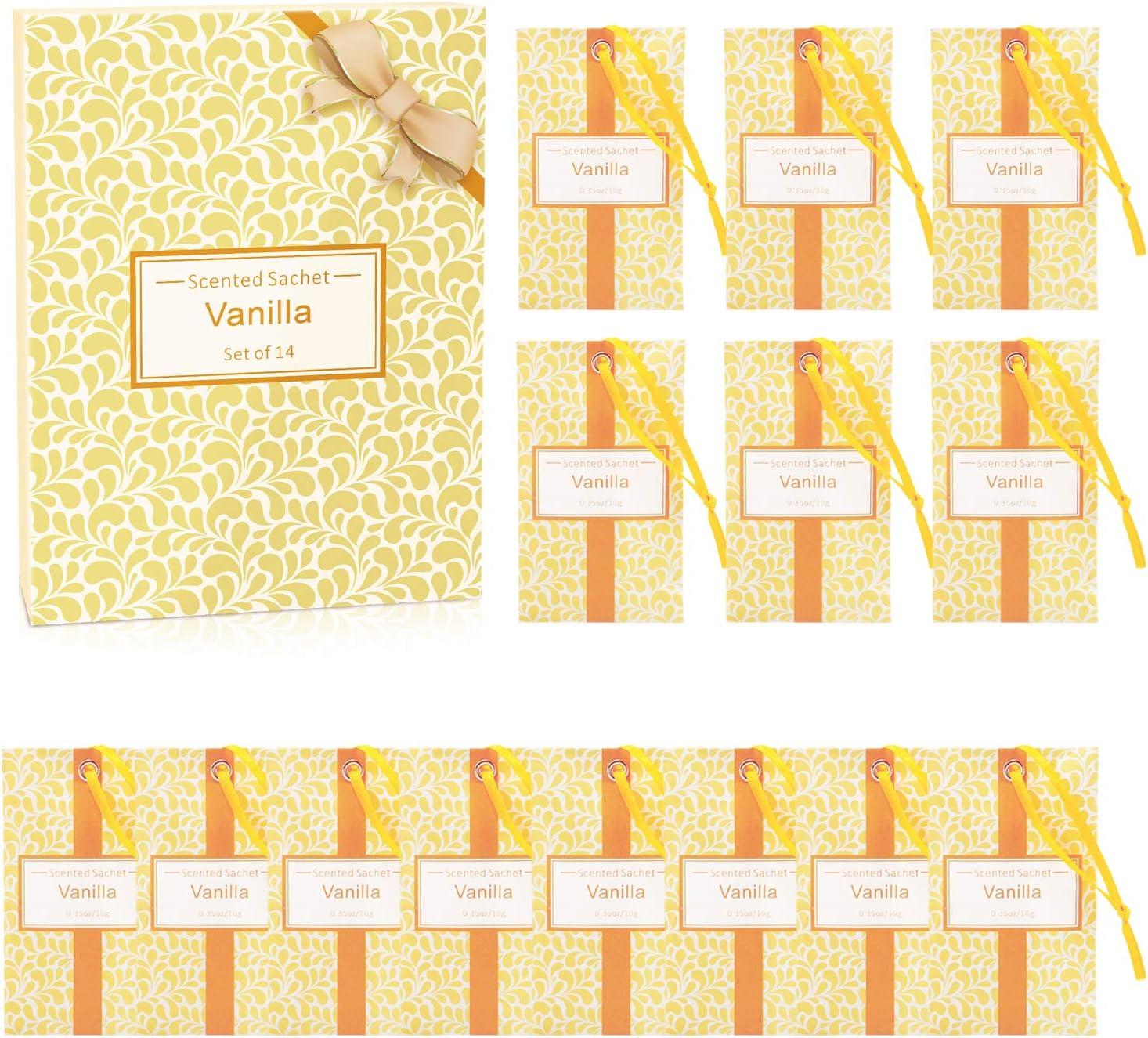 SCENTORINI Set de 14 Bolsita Perfumados de Vainilla sobre Aromántoco Deshumidificador y Ambientador para Cajones y Armarios, Ropa de Bebé, Zapatero, Maleta Regalos para Cumpleaños San Valentin: Amazon.es: Hogar