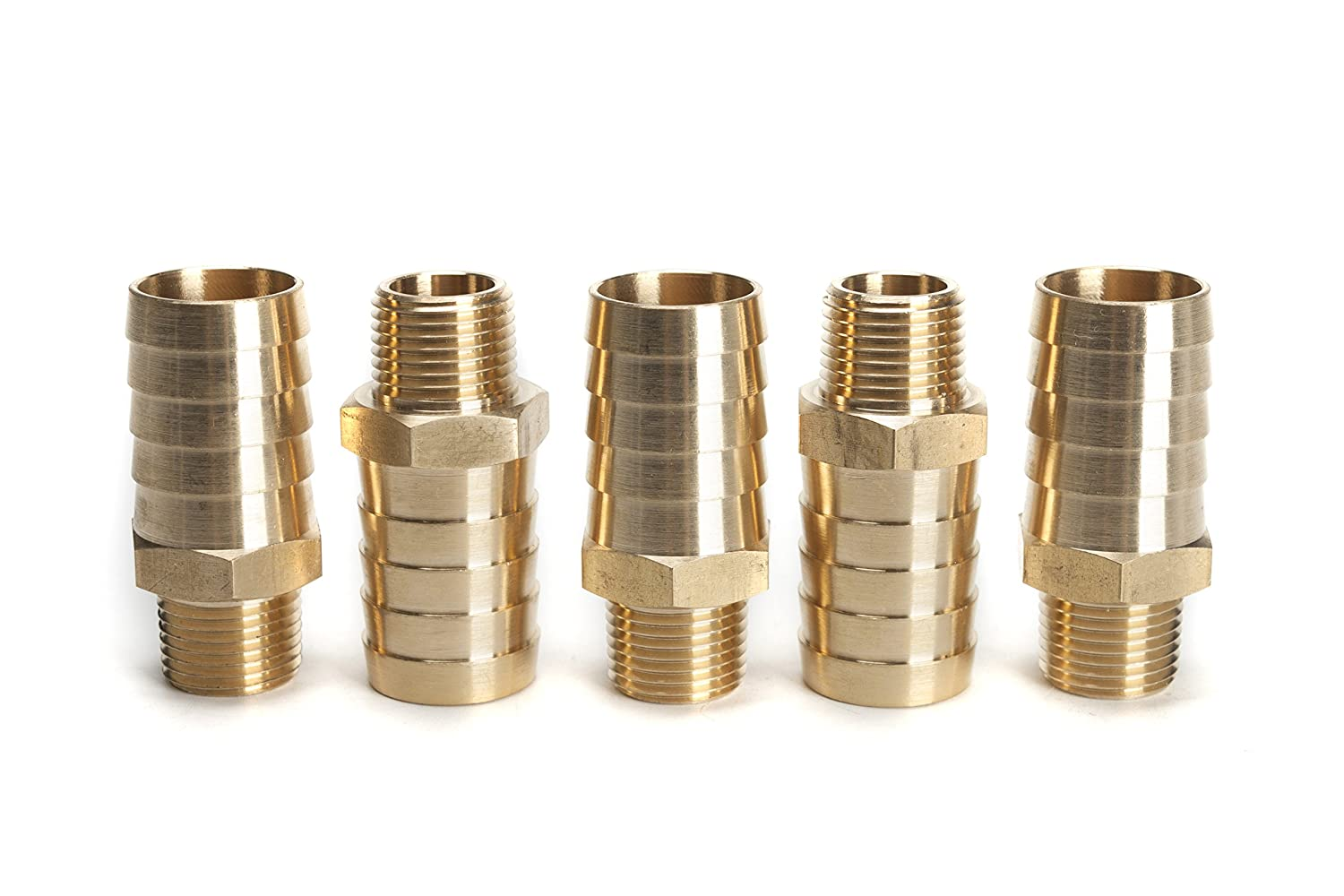 Pack of 5 LTWFITTING Brass Fitting Connector 1-Inch Hose Barb x 1//2-Inch NPT Male Fuel Gas Water
