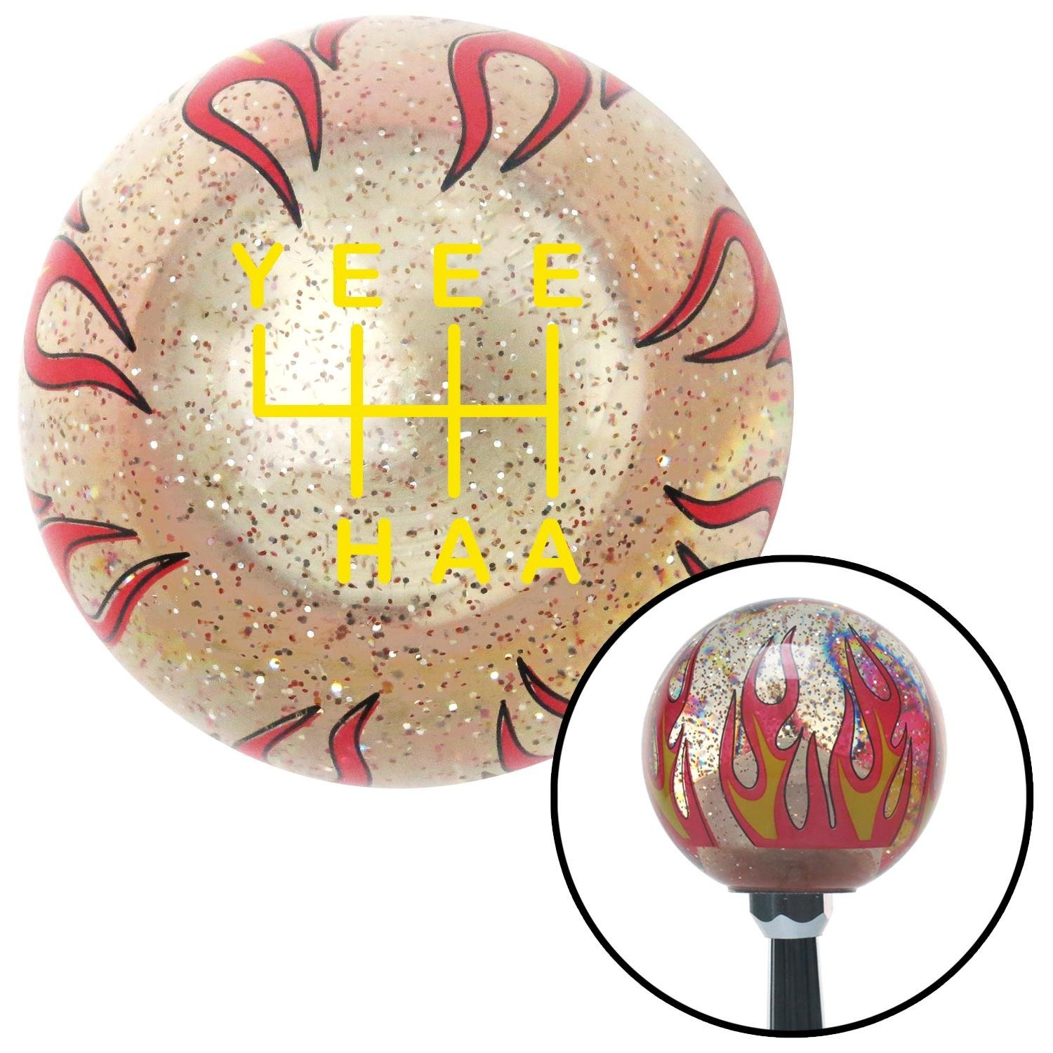 Yellow YeeeHaa 6 Speed Clear Flame Metal Flake with M16 x 1.5 Insert American Shifter 302251 Shift Knob
