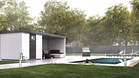 NOVO HABITAT Caseta de Jardin metálica NH4 con Apoyo | Blanco | (238 x 238