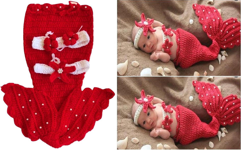 Disfraz de ganchillo para recién nacido, diseño sirenita, conjunto de punto ideal para sesiones de fotos rojo rosso