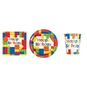 Colorful Building Blocks Party Supply Set for 16- Plates, Napkins & Cups