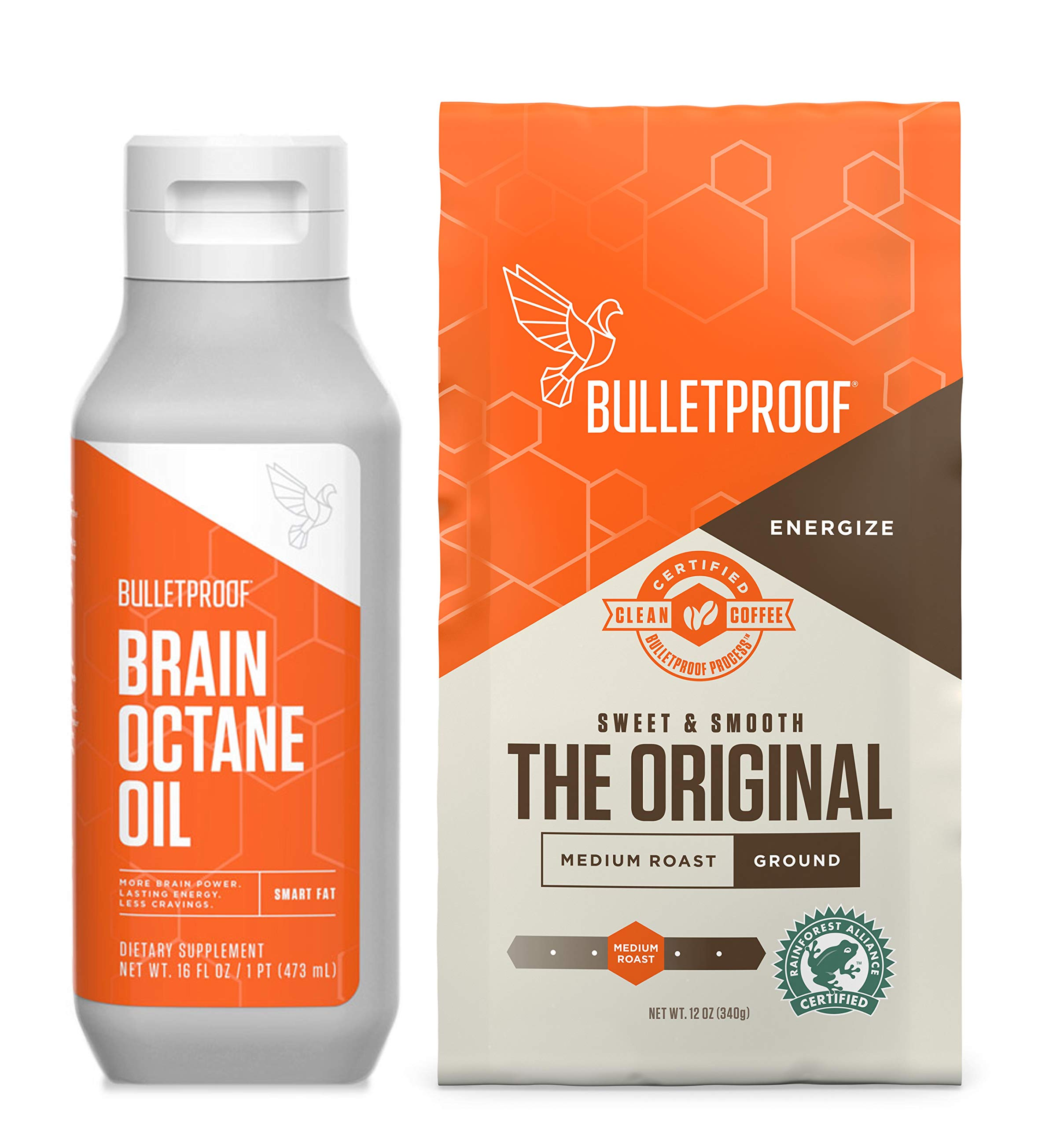 Bulletproof Original 12oz Ground Coffee & 16oz Brain Octane MCT Oil Bundle kit - Perfect for Keto and Paleo Diet, 100% Non-GMO Gourmet Organic Beans, Responsibly Sourced Premium C8 Oil (Ground) by Bulletproof