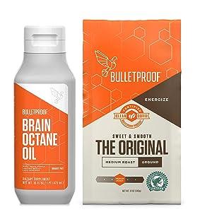Bulletproof Original Medium Roast Ground Coffee and Brain Octane C8 MCT Oil Kit, Keto Friendly, Vegan, Ground + MCT Oil