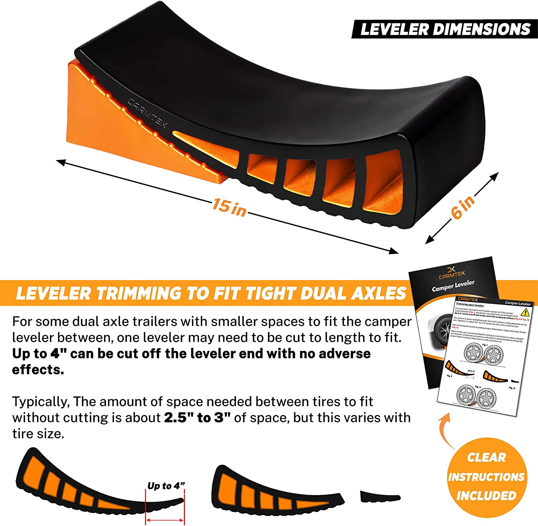 Curved RV Levelers with Camper Wheel Chocks for Travel Trailers Carmtek Camper Leveler Kit 1 Pack Faster Camping Leveling Than RV Leveling Blocks