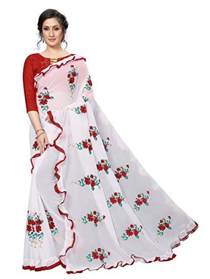 795a36f9442eda Shiroya Brothers Women's Embroidered Ruffle Georgette Saree with Blouse  Piece: Amazon.in: Clothing & Accessories