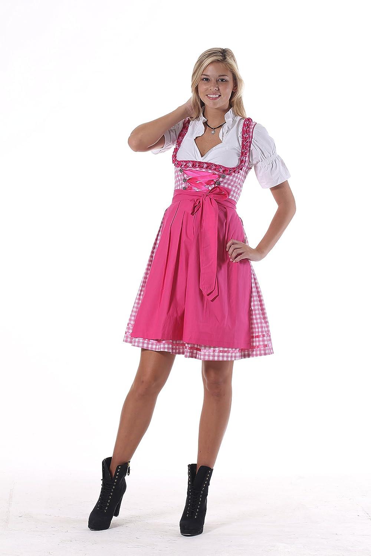 Oscartrachten, 3tlg. Dirndl-Set - Trachtenkleid, Bluse, Schürze - Dirndl midi rosa-rosa kariert