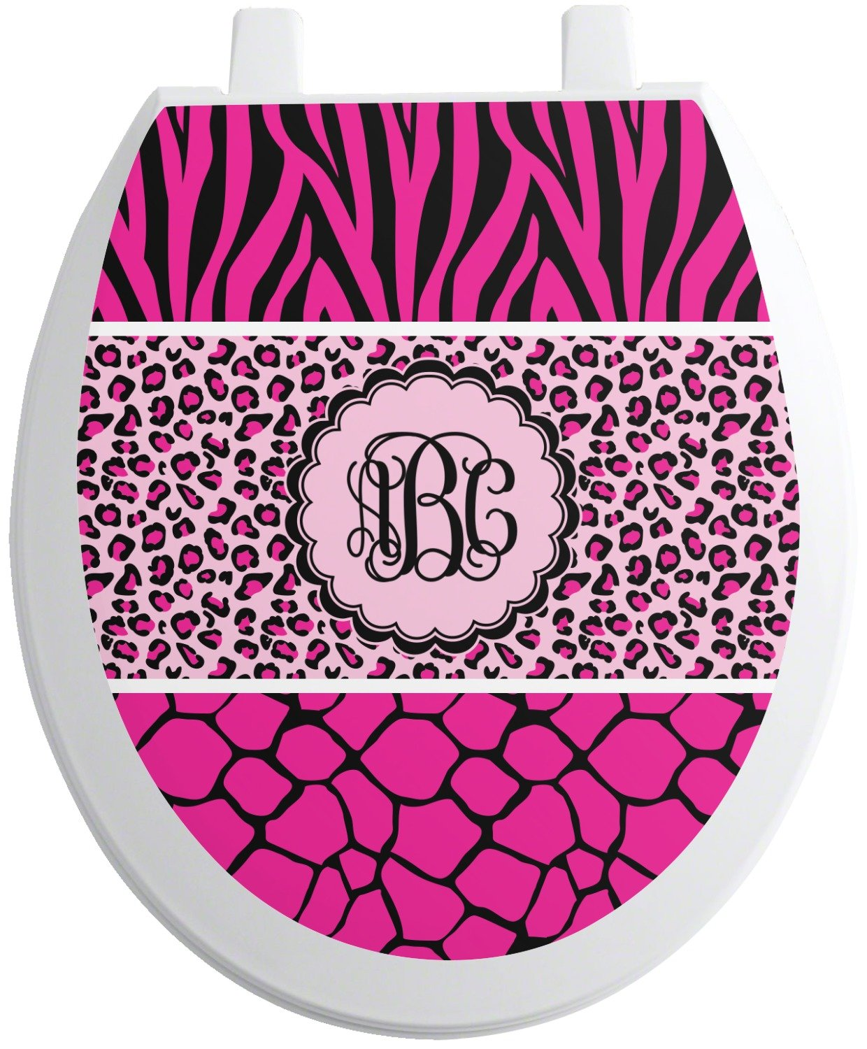 RNK Shops Triple Animal Print Toilet Seat Decal - Round (Personalized)