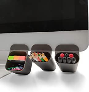 MINSA Creative DIY Screen Pen Pencil Holders Desktop Accessories Organizers for Office Desk Storage Bags Under Computer Monitor & Screen-3 Pack (Gray)